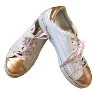 Skechers White & Rose Gold Leather Sneakers 8 NWOT